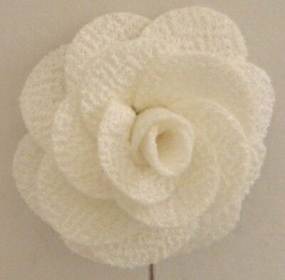 Silver Stemmed Lapel Pin - Ivory