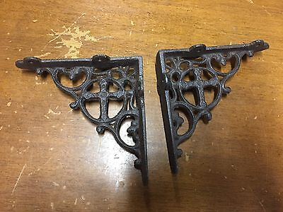 set of 2 antique style Cast Iron Decorative Shelf Brackets