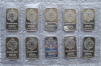 10 X 1 oz Scottsdale .999 Fine Silver Bars in a Sheet and Encased in Plastic