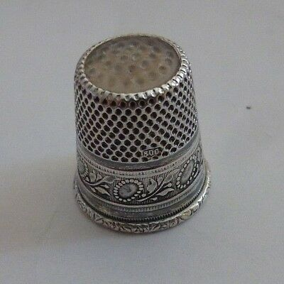 Antique Sterling Silver Thimble Germany Opal Glass Tip Sunflower Floral Design