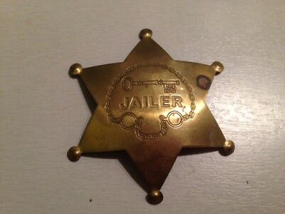 Vintage All Medal App 3 Inch 6 Point Star Jailer Badge In Used Condition