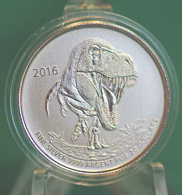 2016 CANADA $20 for $20 Tyrannosaurus rex coin  - with information folder