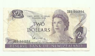 New Zealand vintage used $2 note  Queen Elizabeth & Rifleman bird