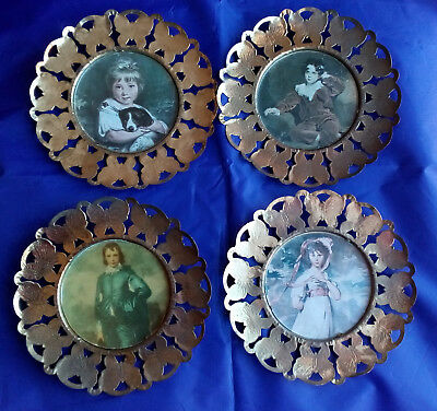 Vintage England Collector Metal Picture Frames  Lot Of 4