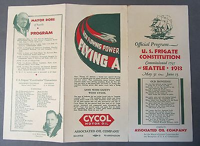 1933 U.S. FRIGATE CONSTITUTION Seattle Washington pamphlet FLYING A GASOLINE