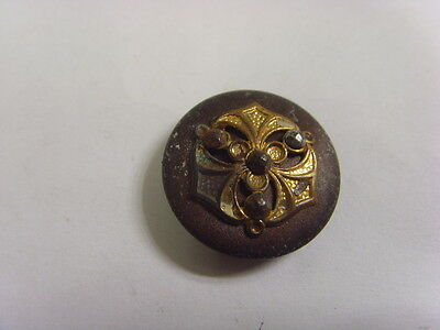 1800s antique museum grade metal button cut steel gilded trinity shield 49202