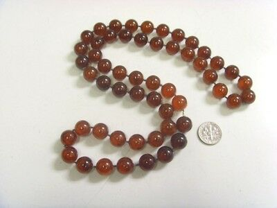 Vintage Lucite thermoset copal amber large beads necklace 28 inch wicca 48586