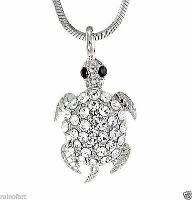 "Made With Swarovski Crystal Turtle Sea Ocean Clear Pendant Necklace 18"" Chain"