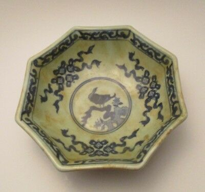 ANTIQUE Chinese Bowl QING Dynasty KANGXI Period mark Blue White Octagon