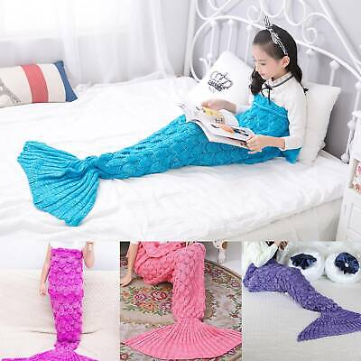 Knitted Mermaid Tail Blanket Hand Crocheted Cocoon Sofa Beach Quilt Rug Lapghan