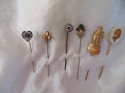 Lot of 6 Assorted Vintage Antique Stick Pins Advertising JI Case Cameo Etc.