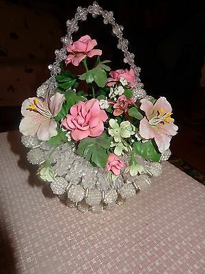 """Absolutely Gorgeous Vintage Clear Beaded Basket w/ Flowers 12"""" Tall Safety Pins"""