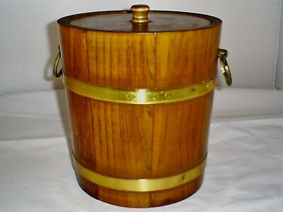 Mid Century Solid Maple Wood Vermillion Ice Bucket Insert Tongs Planter
