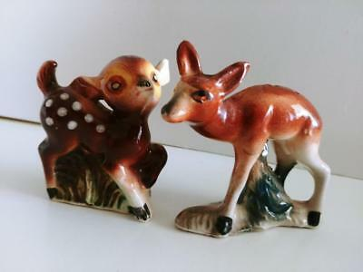 Vintage Pair Salt & Pepper Shakers DEER fawn doe mother and baby Japan made set