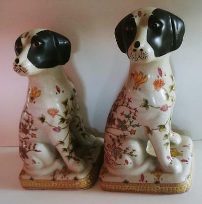 Pair of Ceramic Dog Bookends Fireside Dogs? Floral Design Terriers? vintage?