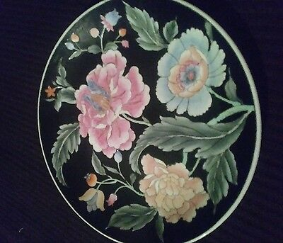 Decorative Plate  Peony Toyo Made In China Floral Design With black Plate