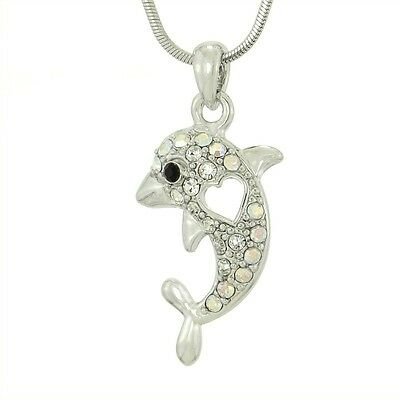 "DOLPHIN Heart W Swarovski Crystal Clear Ocean Beach Sea Love Pendant 18"" Chain"