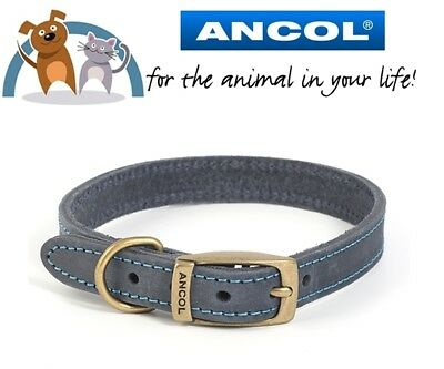 Ancol Timberwolf Navy Blue Leather Dog Collar All Sizes Available In Dropdown