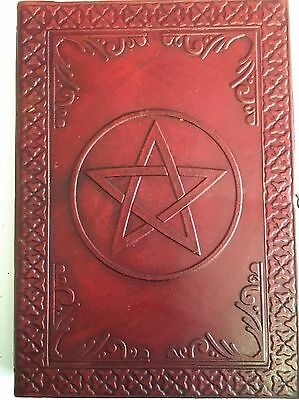 """SALE""Hand Made Leather Bound Book/Journal Recycled Paper-Pentagram-25 x 18 cm"