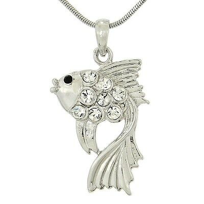"W Swarovski Crystal FISH Aquarium Sea Ocean New Pendant Necklace 18"" Chain"