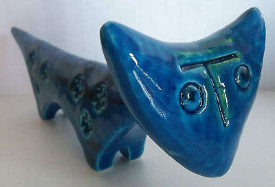 BITOSSI  boxed new ALDO LONDI CAT RIMINI BLUE blu pottery ceramic animal
