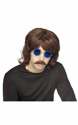 SALE! Adult 70s Brown Shag Wig Mens Fancy Dress Costume Party Accessory