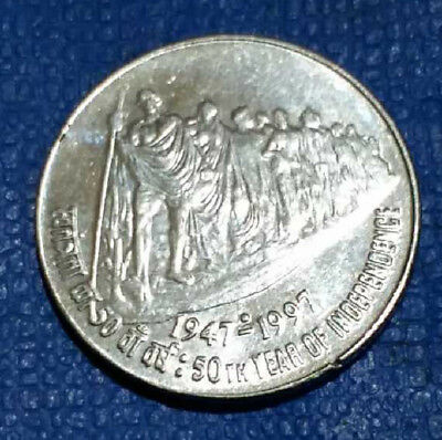 1997 -  India  Gandhi Commemorative  50 Paisa  Coin  -#1143-  Free Shipping