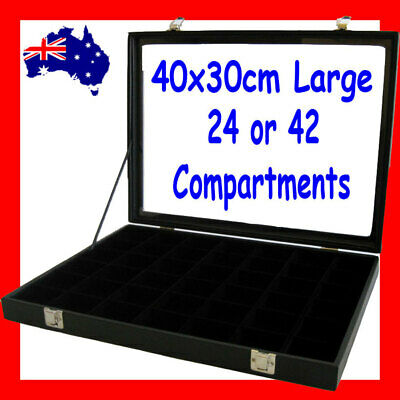 Glass Lid Jewellery Case | LARGE 40x30cm | 24 or 42 Compartments | AUSSIE Seller