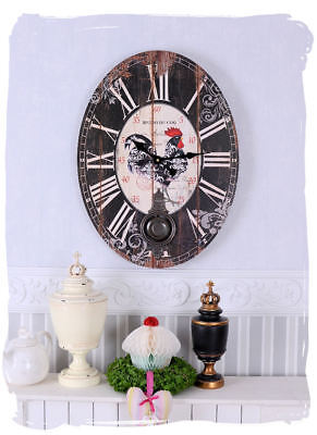 Pendulum Clock Country House Style Wall Clock Bistro of Coq Provence Watch