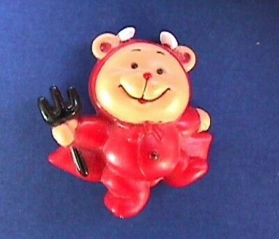 BUY1&GET1@50%~Russ PIN Halloween BEAR as RED DEVIL With PITCHFORK Vtg Holiday