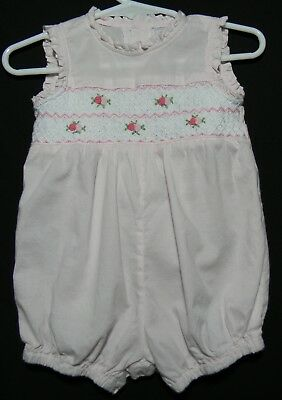Fantaisie Kids pastel pink smocked bubble size 3 months