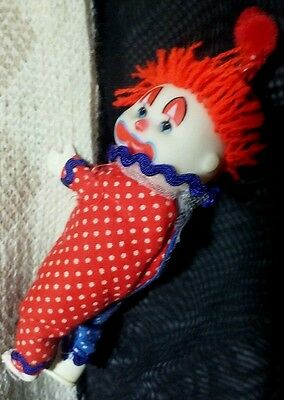 Vintage Red & Blue Happy Clown Clip-on toy hugger 1980's circus funny huggy