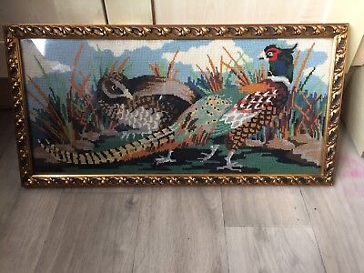 "Vintage Pheasant Framed Tapestry Picture 24"" X 12"""