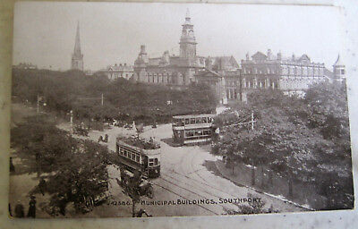 Old Vintage Postcard Southport Municipal Buildings RP Merseyside