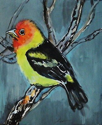 Bird Western Tanager Original Watercolor Abstract