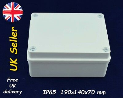 Electrical junction box, weatherproof enclosure 190mm x 140mm x 70mm IP65, White
