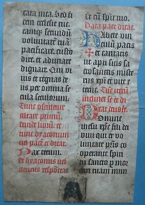 Medieval Manuscript Leaf With Miniature, Missal,  Netherlands  C.1475-1500.