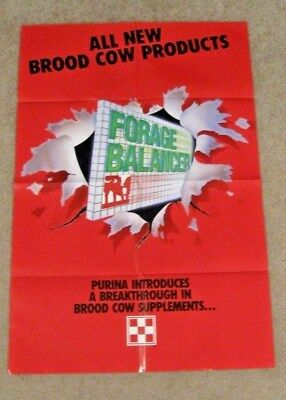 """OLD Purina ALL NEW BROOD COW PRODUCTS - FORAGE BALANCER Paper Poster 36"""" X 24"""""""