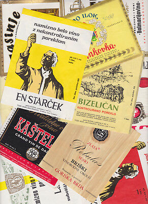 WINE LABELS - LOT OF 11 - EX. YUGOSLAVIA (CROATIA, SLOVENIA & SERBIA) - 70's