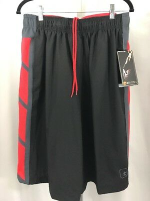 And1 Mens Size L Large Elastic Waist Black & Red Drawstring Basketball Shorts