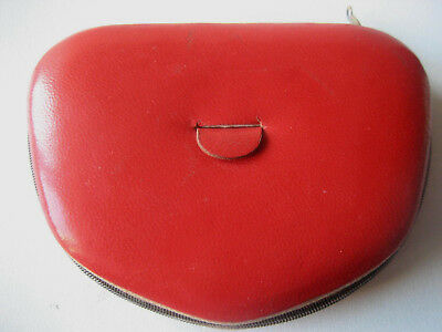 """Poudrier cuir rouge Red  leather powder compact """"Confort"""" CONFORT Make up rose"""
