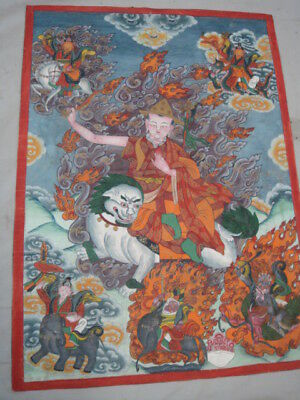 Old Hand Painted Tibetan Thankga Oil Painting on Canvas