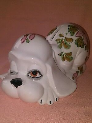 Vintage Lazy/Sleepy Dog Bank with Hand Painted Florals Made in Italy