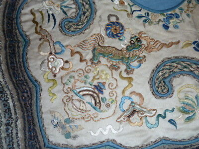 Antique Chinese silk Cloud collar(?) birds, buildings, animals, butterflies gold
