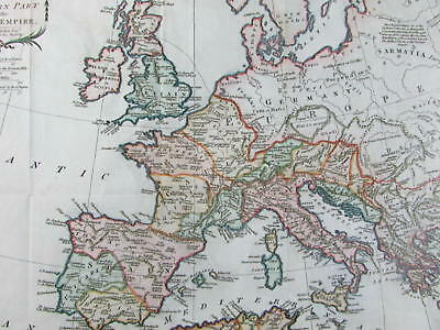 Roman Empire Western part Europe 1781 Kitchin old engraved map colore