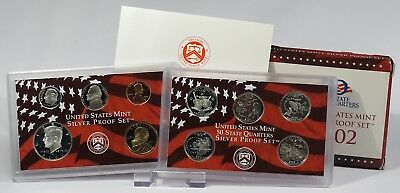 USA 2002 Mint Silver Proof Set + State Quarters Silver Proof Set
