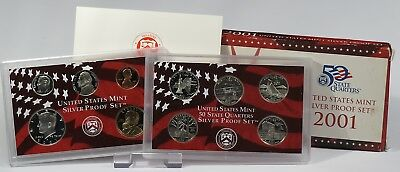 USA 2001 Mint Silver Proof Set + State Quarters Silver Proof Set