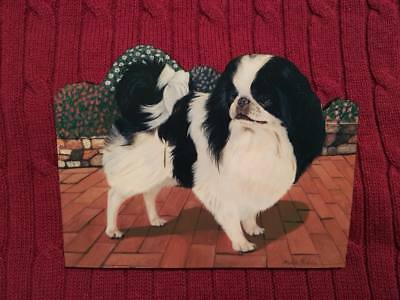 Japanese Chin wooden dog magnet, great detail! nW/oT