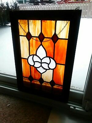 Rare Old Art Style medium Leaded Window hanging clear / stained glass READ
