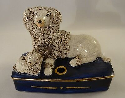 Staffordshire German Porcelain White Poodle & Puppy Match Striker  c1900